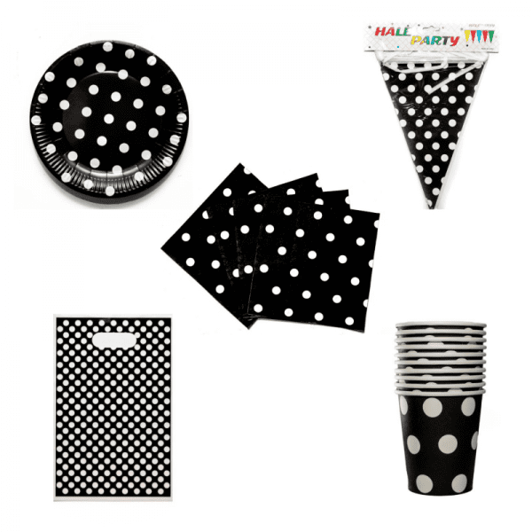 White Dots on Black Plates_Party Decor Set (Custom)
