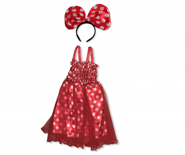 Red with white dots net dress with alice band and huge bow