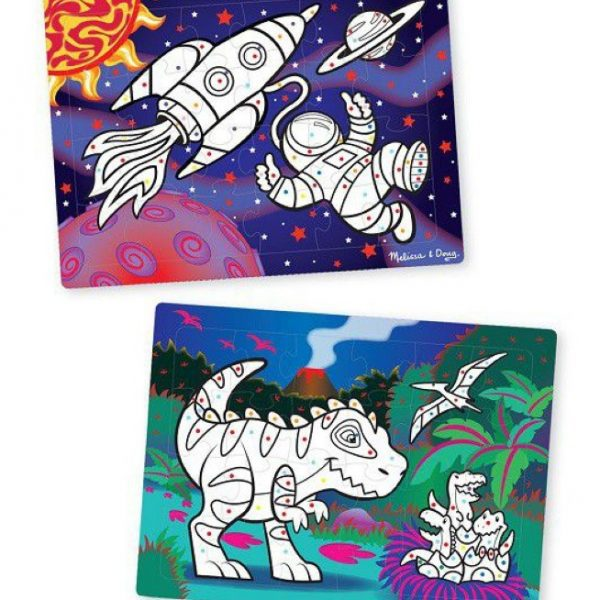 Melissa And Doug 3D Colouring Puzzles - Space, Dinosaurs